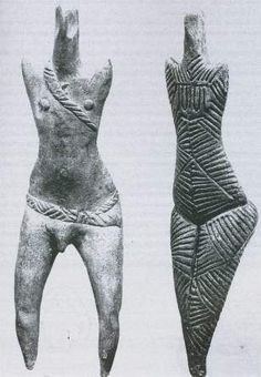 Detail man and woman, Cucuteni culture, Romania (7000 - 3500 BC):