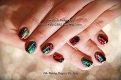 Gelish Rainbow Foils and Glitters manicure by www.funkyfingersfactory.com