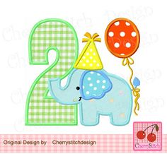 Birthday Elephant Number 2,  Baby Elephant with number 2, Birthday number applique -4x4 5x5 6x6 inch-Machine Embroidery Applique Design by CherryStitchDesign on Etsy