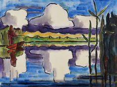 Karl Schmidt Rottluff Ernst Ludwig Kirchner, Landscape Paintings, Watercolor Paintings, Cavalier Bleu, Karl Schmidt Rottluff, Degenerate Art, Expressionist Artists, Modern Artists, Vintage Artwork