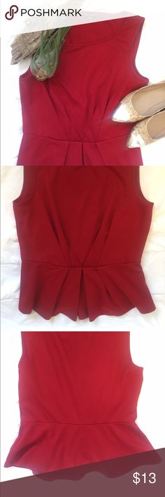 Red Peplum tank Adorable flattering little tank Peplum. Great condition! Smoke and pet free home! Cable & Gauge Tops Tank Tops