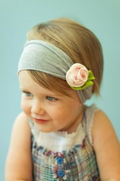 T-shirt headband with a fabric flower. So easy to make!!