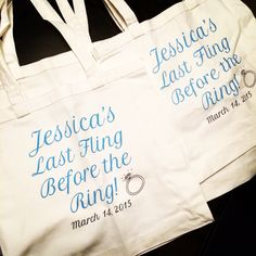 A quick peek at the custom canvas totes #MaidOfHonor Kris ordered from us for her BFFs #bachelorette party from our #Etsy site! We hope they have a great time...and that these bags will serve as a sweet little memory from their night out! #weddings #bride #ring #engagement #weddinginspo