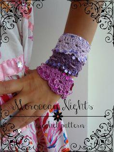 Crocheted Moroccan Cuff PDF Crochet Pattern - crocheted bracelet, crocheted cuff, shell bracelet, crocheted  accessory, a photo tutorial