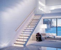 Grado Design Oy | Grado Kide -stairs Staircase Interior Design, Modern Villa Design, Floating Staircase, Wooden House, Big Houses, Küchen Design, Stairways, Sweet Home, New Homes