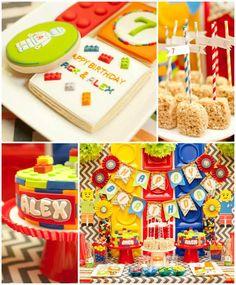 Twins' Lego Themed Birthday Party with Such Awesome Ideas via Kara's Party Ideas | KarasPartyIdeas.com #Lego #BuildingBlocks #PartyIdeas #PartySupplies