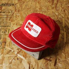 古着 レッド コーデュロイキャップ CENEX FEED ワッペン 刺繍 フリーサイズ PARAMOUNT CAP MFG CO.