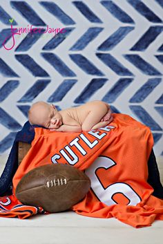 newborn-with-football jersey chevron orange, blue sports