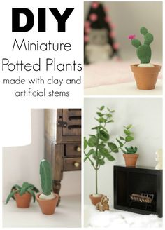 DIY Miniature Clay Cacti & Fiddle Leaf Fig - Primitive and Proper