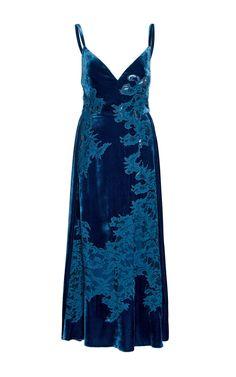 Shop Velvet And Lace Slip Dress. This **Elie Saab** velvet dress features a v-neckline, spaghetti straps, and a midi length. V Neck Midi Dress, Blue Midi Dress, Lace Dress, Dress Up, Blue Gown, Pretty Dresses, Beautiful Dresses, Elegant Dresses, Velvet Slip Dress