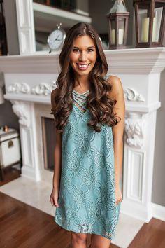 e82a7fb642302c Sage Cross Front Lace Dress - Dottie Couture Boutique