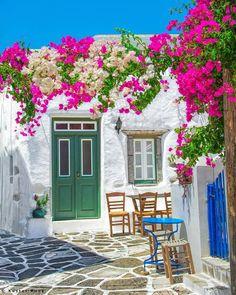 Spring at Paros island Cyclades Stone Patio Designs, Paros Greece, Paros Island, Greek House, Greece Islands, Greece Travel, Mykonos, Facade, Beautiful Places