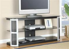 Bardrick Black Silver Glass Tv Stand w/Black Tempered Glass