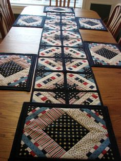 Fourth of July table runner and placemats.  Fun and Done pattern by Prairie Sky Quilting.  Made by Georgia Carrion