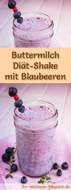 Buttermilch-Shake mit Blaubeeren - ein Rezept mit viel Eiweiß und wenig Kalorien, perfekt zum Abnehmen, gesund und lecker ...