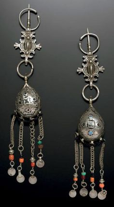 Morocco ~ Tamegroute, Draa Valley | Set of silver, coral, coins and glass fibulae | Worn by Jewish women | Est. 1'500 - 1'800€ ~ (June '14)