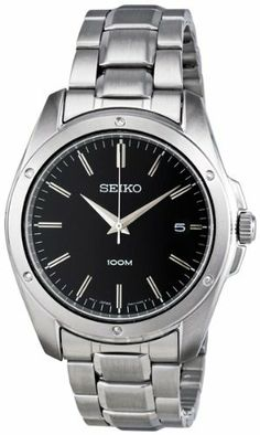Seiko Black Dial Stainless Steel Mens Watch SGEF81 Seiko. Save 66 Off!. $68.95. 10ATM water resistant. Black dial with silver tone hour marks. Brushed and polished stainless steel case and bracelet. Date display at 3 o'clock. Hardlex glass
