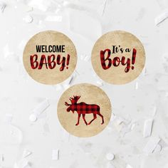 Cupcake Toppers Printable Baby Shower Winter Plaid Buffalo Cupcake Topper Labels Tags Welcome Baby It's A Boy Rustic Cupcake Rounds Tan by MossAndTwigPrints on Etsy