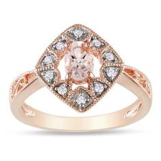 Oval Morganite and Diamond Accent Kite Ring in Rose Rhodium Plated Sterling Silver - Zales