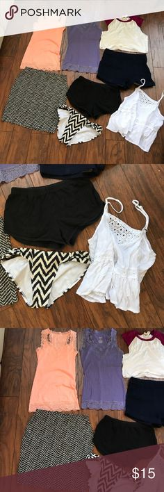 Summer clothes lot American apparel old navy xs s Summer clothes lot bundle - black semi faded American apparel cotton shorts medium (fits small) - old navy body on pencil skirt xs- peach mossimo lace tank  xs- purple lace mossimo tank small- forever 21 discus baseball crop top- forever 21 high waisted dark shorts 27 xs/s- full tilt white peasant crop tank cami medium (fits small) - and old navy small bathing suit bikini bottoms-ALL for one price - no separating for now thank you! ADD…