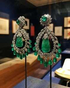 """@davidwebbjewels """"Designing for Doris: David Webb Jewelry & Newport's Architectural Gems"""" is now open to the public at Rough Point in Newport, Rhode Island! These stunning emerald and diamond earrings were recreated based upon an original design for Doris Duke."""