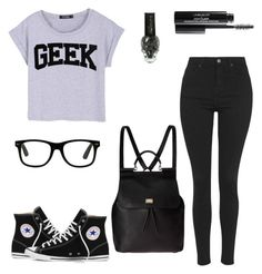 """""""Collab- Back To School In Black"""" by kaitgieske ❤ liked on Polyvore featuring Topshop, Converse and Dolce&Gabbana"""