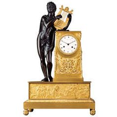 French Empire Early 19th c. Mantel Clock 'Apollo Playing the Lyre'