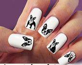 Dog, Animal nail decal, French Bulldog, nail art, 60 nail decals, Nail Art design,  Water Slide nail Decals,