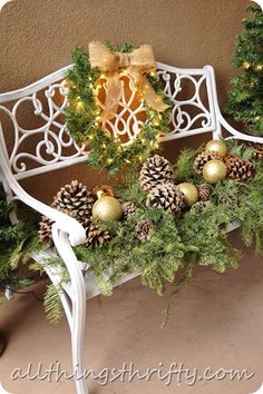Decorating for Christmas can help us feel Christmas Cheer {even when we've had a rough day} : outdoor christmas decorating ideas nice for front porch or a back patio Christmas Porch, Outdoor Christmas Decorations, Rustic Christmas, All Things Christmas, Winter Christmas, Christmas Holidays, Christmas Wreaths, Winter Porch, Primitive Christmas