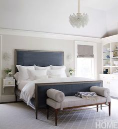 All white bedding creates that crisp hotel look.