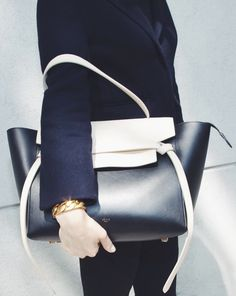 Celine Tie Bag in Black and Cream Gq, Leather Backpack, Leather Bag, Celine Belt Bag, Lingerie, Beautiful Bags, My Bags, Purses And Handbags, Winter