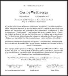 Gesine Wellhausen : Nachruf - RP Trauer - Rheinische Post - Düsseldorf