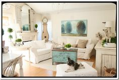 Shabby chic style with pops of green and aqua