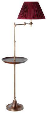 """Smartie Minor swing arm floor lamp, from Besselink & Jones ; with 14"""" adjustable, lipped cherrywood table, coin bronze."""