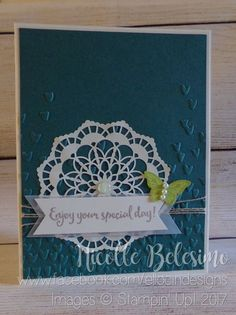 """Special occasion card made with """"Dragonfly Dreams"""" and """"Papillon Potpourri"""" stamp sets, Falling Petals Textured Impressions Embossing Folder, Bitty Butterfly Punch, and Lace Doilies from Stampin' Up! www.nicollebelesimo.stampinup.net"""