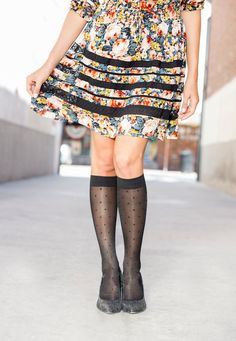 Sheer dot stockings with compression. Compression knee highs by Rejuva. Opaque Stockings, Knit Stockings, Fashion Mag, High Fashion, Flats With Arch Support, Compression Stockings, Knee Highs, High Knees, Leiden