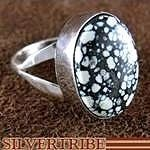 Navajo Native American Jewelry New Lander Turquoise and Silver Ring
