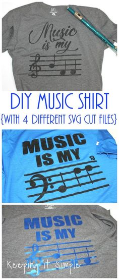 Fun and clever DIY music shirt with 4 different designs in both treble and bass clef. Get the free cut SVG file in the post. Music Crafts, Diy Craft Projects, Vinyl Projects, Simple Projects, Craft Ideas, Vinyl Crafts, Project Ideas, Music Images, Teacher Shirts