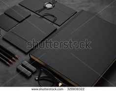 Set of mock up elements on black background. 3d render