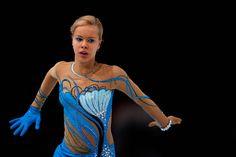 Anna Pogorilaya of Russia Ladies Free Skating Trophee Eric Bompard 2013/2014, Blue Figure Skating / Ice Skating dress inspiration for Sk8 Gr8 Designs.