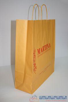 Bolsa de papel color amarillo con asas rizadas http://www.bolsapubli.net/productos/bolsasdepapel.html/