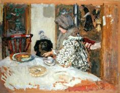 Woman with a Dog at the Table - Pierre Bonnard, 1908    French,1867-1947    Oil on cardboard,  47.3 cm (18.62 in.) x 60.6 cm (23.86 in.)