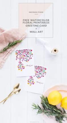 Download free watercolor floral printables-Greeting card and wall art | Inkstruck Studio