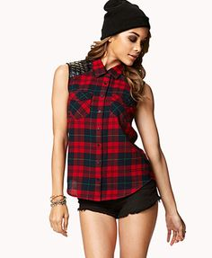 4ever21 Sleeveless Plaid Flannel Top