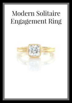 This 1.20 carat cushion cut diamond is surrounded by an elegant 14k yellow gold bezel setting. The band and bezel are outlined with milgrain detail to add a delicate texture and shape to the edges. The glow of the high polish band compliments the dazzling diamond center.  Click here to start browsing our unique engagement rings and see what sets Knox apart.