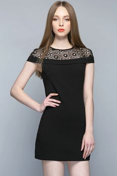 Just the One Lace Top Black Dress #DateNight #BlackLace #LittleBlackDress #MustHaveStyle  http://www.macaronfashion.com/dresses/view-all/just-the-one-lace-top-black-dress.html