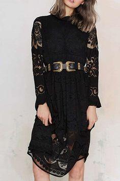 Long Sleeve Crochet Flower Lace Dress