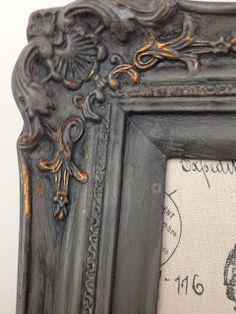 Weathered Pieces: I painted both of these frames with Pittsburgh Gray & then brushed on Vermont Slate wash.  I wiped back the wash with a rag, harder in some areas to reveal the original color underneath.