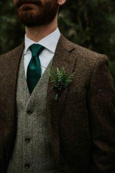 Brown Suit Wedding, Tweed Wedding Suits, Wedding Tux, Wedding Attire, Wedding Ideas, Green Wedding Shoes, Wedding Reception, Forest Wedding, Woodland Wedding