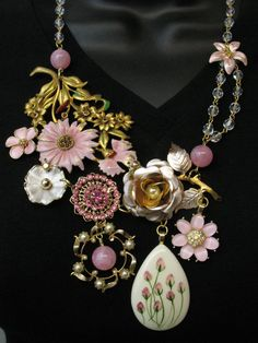 OOAK Repurposed Vintage Jewelry Couture Statement Necklace Collage Pink Flowers Crystal and Rhinestones Savannah Line by SunnyDayVintage.com on Etsy, $220.00